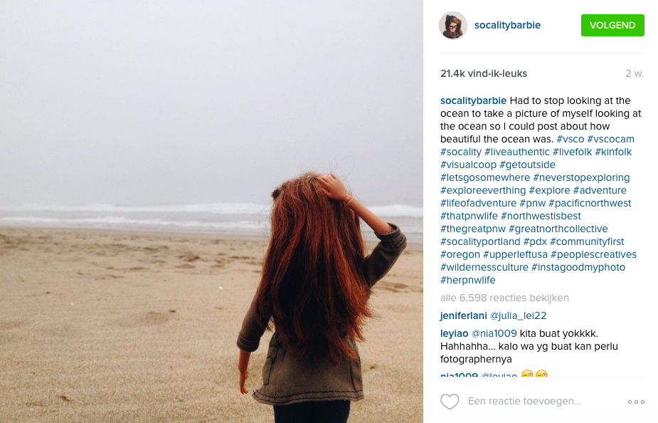 Hipster Barbie op Instagram