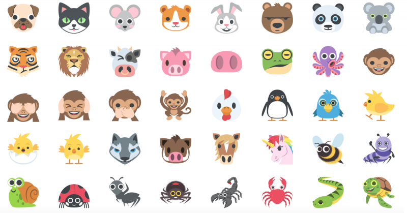 Emoji One collection 2016 animals