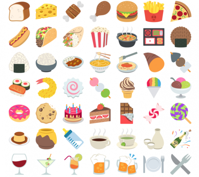 Emoji One 2016 Collection Unicode food collection